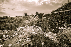 St Mary de Castro Church (code poet) Tags: travel flowers england sky castle church clouds ir 350d kent unitedkingdom infrared fortification moat 1022mm dover dovercastle stmarydecastro