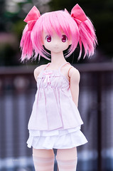 [Hybrid Active Figure] Madoka Kaname plain clothes (7) (wata1219) Tags: pink anime cute girl socks japan doll action outdoor skirt clothes ribbon knee magical plain 13th portrate madoka camisole magica posable kaname azone obitsu puella 48cm        hac627mdk