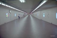 Kyoto underground (lunerin) Tags: people film station japan train 35mm subway alley kyoto perspective tunnel midnight nikonfm10 kodakultramax400