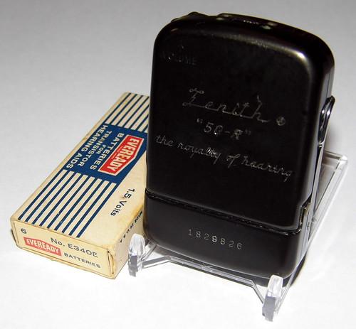 Vintage Zenith 4-Transistor (Body) Hearing Aid, Model 50-R, Black-Colored Aluminum Case, Circa 1957