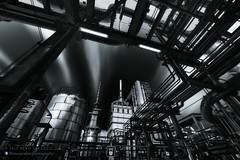 DRP - Portrait of a Steel Factory (Titanium007) Tags: longexposure blackandwhite industry horizontal photoshop canon photography nikon fineart digitalart retouching lightroom postprocessing blackandwhiteconversion steelfactory cloudtrails retoucing industrialfineart creativeindustrialphotography promoteremotecontrol oloneo oloneophotoengine vision:outdoor=0906