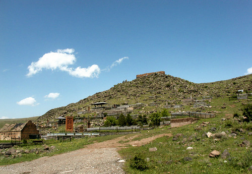 A cemetery. On the hill: the fortress of Kosh (13th century). Kosh village, Armenia