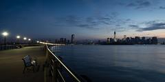 Lower Manhattan (Dalliance with Light (Andy Farmer)) Tags: nyc sky sun water skyline sunrise dawn newjersey jerseycity unitedstates nj manhattanlibertystatepark