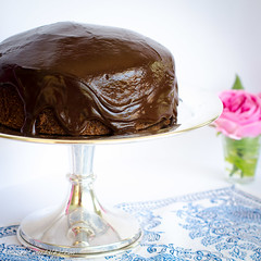 Boiled chocolate cake with chocolate ganache (A Sweet Muddle) Tags: recipe baking sweet chocolate ganache cream homemade sweets recipes cocoa baked chocolatecake decadent boiledchocolatecake