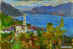 Romualdo Prati Veduta di Calceranica con il lago oilio su tavola 23x34,5cm Collezione privata