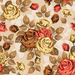 Rose. Seamless background. (mari_pazhyna1) Tags: pink flowers light summer wallpaper plant color art texture nature floral beauty rose yellow illustration vintage garden festive easter season design spring beige colorful pattern blossom decorative background packing postcard decoration petal celebration textile cover bunch backdrop bouquet bud exquisite ornate vector element stylized seamless toile handdrawn blooming elegance