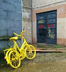 Yellow Bicycle (cocabeenslinky) Tags: street city uk england urban streetart london art bike bicycle yellow canon photography artist grafitti power shot photos graf united capital kingdom powershot east cycle graff february eastend artiste 2014 g15 cocabeenslinky
