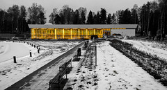 Tapiola swimming hall (Antti Tassberg) Tags: winter blackandwhite bw building window pool monochrome swimming espoo suomi finland nokia raw indoor icon scandinavia talvi flickrblog 929 tapiola rakennus dng lumia ikkuna uimahalli phoneography pureview twittertuesday lumia929