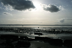 Infinite Horizons (irene navares) Tags: uk blue winter beach clouds liverpool rocks rockybeach wirral pnombre irishsea lightcontrast ifeelblue