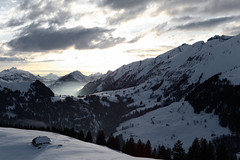 (*SM) Tags: light mountain snow mountains alps forest switzerland ray hut sunbeam rougemont