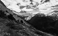 Mountains (CNorthExplores) Tags: park travel autumn bw white canada black mountains canon rockies hiking canadian ridge trail national alberta banff parker g11 explored