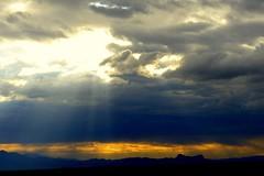 Heaven blesses earth (jimsc) Tags: winter arizona mountain southwest skyscape lumix ray afternoon desert tucson horizon ngc january panasonic sunburst sonorandesert skyshow pimacounty fz200 jimsc