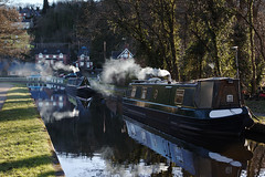 Keeping warm on a Narrow Boat. (Mat Price) Tags: canal smoke barge llangollencanal narrowboat froncysyllte canon1740mm canon70d