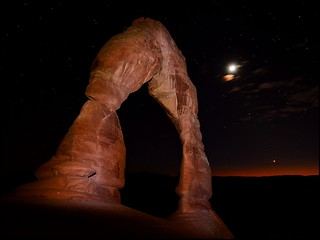 Delicate Arch with New Moon and Venus Descending