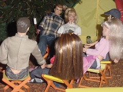 The Great Out-smores (larry_boy17) Tags: birthday trip pink camp vacation love shirt altered fire tents doll dolls chairs getaway ooak group ken barbie skipper handsome couples tent teen cap blonde smores ponytail plaid campers repaint