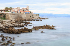 A lonely seagull - Antibes, Provence-Alpes-Cte d'Azur, southern France (Maria_Globetrotter) Tags: france french coast spring long exposure mediterranean riviera day cloudy stones shore coastline provence 2016 img0113