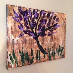 Spring flowers (Hurricane Wayne) Tags: flowers autumn winter summer brown abstract tree green grass painting spring paint acrylic purple sienna brush canvas arbor burnt wetonwet