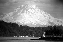 Mt Rainier Developed in Rainier Beer (bac1967) Tags: mountain film nature water beer clouds lens landscape mirror delta olympus pugetsound 100 photographed 500mm mtrainier f8 ilford om1 olympusom1 vashonisland develop kitsap rainierbeer blakeisland kitsapcounty ilforddelta100 manchesterstatepark ilfordfilm lentar orchardpoint beerol beerenol lentar500mmf8mirrorlens kitsappeninslula