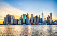 New York Sunset (Photos By RM) Tags: city nyc newyorkcity sunset sky newyork colors skyline brooklyn canon exposure skyscrapers manhattan bluehour hdr lowermanhattan newyorkny brooklynbridgepark freedomtower canon7d
