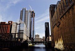 Along Chicago River - Chicago IL (Meridith112) Tags: bridge light shadow chicago building skyline architecture river illinois spring nikon opera midwest shadows may il shade chicagoriver cookcounty 2016 chicagosuntimes chicagoopera civicoperabuilding mykindoftownchicagois nikon2485 classicchicago nikond610