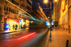 Woosh (Tony Shertila) Tags: road street city light people weather architecture night buildings turkey geotagged europe outdoor path illumination tram istanbul clear tur slowshutter lighttrails constantinople sirkeci excellentshot tahtakale geo:lat=4101181906 geo:lon=2897832602 likethelighttrails helighttrails 20151031193656