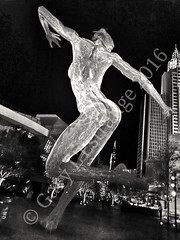 Bliss Dance, at the Park, Las Vegas (garylestrangephotography) Tags: travel las vegas light woman white black art tourism monochrome statue female naked grey mono monotone dancer strip thestrip bliss lasvegasstrip travelphotography touristlocation garylestrangephotography