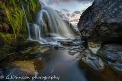 Elegance (Gavin_D2009) Tags: sunset motion green water clouds composition landscape scotland waterfall moss movement rocks dof creative wideangle sharp slowshutter milkywater loupoffintry