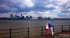 All rights reserved Collette Rawlinson (Collette Rawlinson) Tags: sky people water skyline clouds liverpool river outdoors waterfront view railing mersey merseyside