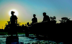 silhouette of 3 (AVRO RAHMAN) Tags: blue sky people sun silhouette work canon dawn dusk head farmer pointshoot avro