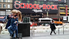 "The Kids Before Seeing ""School of Rock"" (Joe Shlabotnik) Tags: cameraphone nyc newyorkcity sign theater manhattan broadway violet everett schoolofrock 2016 galaxys5 may2016"