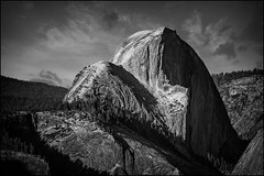 Half-Dome (PrevailingConditions) Tags: california ca trees blackandwhite mountain mountains monochrome skyline landscape nps outdoor yosemite halfdome serene yosemitenationalpark