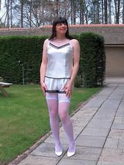 Wonderful feel (Paula Satijn) Tags: white hot cute sexy stockings girl garden pumps legs knickers lace silk adorable tgirl transvestite satin cami silky camisole