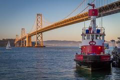 Golden Bay Bridge [in explore 6-14-16] (USpecks_Photography) Tags: sanfrancisco bridge sailboat bay baybridge embarcadero bayarea firefighter goldenhour