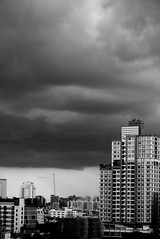 It's The End My Friend (jcbkk1956) Tags: storm skyline clouds buildings thailand mono blackwhite nikon bangkok nikkor 1870mmf3545 thonglo d3300