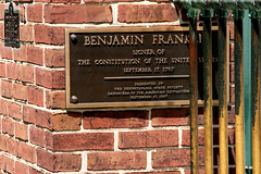 Benjamin Franklin grave gate plaque, Christ Church Burial Grounds, Philadelphia (davidvictor513) Tags: philadelphia cemetery grave outdoors pennsylvania patriot benjaminfranklin foundingfathers burialground declarationofindependence gravemarker christchurchburialground famousamericans