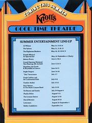 Knott's Berry Farm (jericl cat) Tags: summer illustration advertising stars design time theatre good events ephemera entertainment 1975 celebrities material 1970s press promotional knots schedule roaring knotts 20s goodtime berryfarm