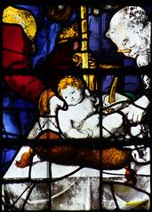 Circumcision of Christ, Simeon wearing spectacles (detail, English glass, 16th Century) (Simon_K) Tags: cambridge college university chapel stainedglass tudor kings cambridgeshire eastanglia 16thcentury cambs