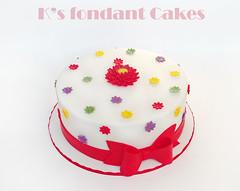Gerbera Daisy Cake (K's fondant Cakes) Tags: red white green cake daisies purple gerbera bow daisy yello fondant