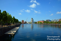 Ontario Basin (jonnywalker) Tags: city trees sport manchester apartments waterfront centre salfordquays bluesky salford quays watersport ontariobasin hellyhansen greatermanchester lowryoutletmall hellyhansenwatersportscentre waterfrontquays