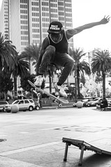 Holy Smokes! (dogwelder) Tags: sanfrancisco california blackandwhite monochrome us jump ramp unitedstates embarcadero skateboard skater