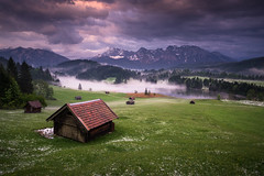 after the hailstorm (Dennis_F) Tags: sunset mist mountain mountains reflection tree hail horizontal fog clouds forest germany bavaria view hut range hailstone karwendel geroldsee
