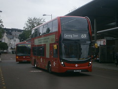 DH38503 @ Walthamstow Central bus station (ianjpoole) Tags: bus station town central working route transit alexander dennis 69 canning walthamstow enviro towr dh38503 sn65zgr 400mhc