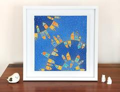 Happy Houses (jani.na) Tags: blue original houses orange cats house colour bird art yellow cat painting stars happy gold mixed media colours bright display framed kunst picture shapes silk haus gelb frame blau cheerful bild simple jani dyes häuser frohe froh seide nanavati gutta fröhliche seidenmalerei seidenbild