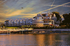 Bar Harbor Inn with Airplane ( julev69  1,850,000+ Views- THANK YOU!) Tags: ocean sunset sky reflection building nature water beauty architecture airplane landscape maine barharbor barharborinn julev69 julieeverhart
