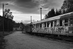 Abandoned train... (Strange Artifact) Tags: sony a7r fe 55mm f18 za carl zeiss sonnar t abandoned train decayed stutzerbach black white schwarz weiss zwart wit bw