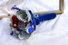 Red, White and Blue Leather Bouquet1 (TussyMussyBouquets) Tags: vintage contemporary jewelry jewellery bouquet weddingbouquet silverflowers fabricbouquet broochbouquet artificialbouquet