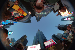 The Sky at Times Square (daviddoctorrose) Tags: nyc selfportrait newyork skyline d50 nikon cityscape manhattan fisheye timessquare 8mm peleng