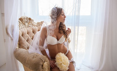 To be Bride (g_katherine) Tags: wedding white bride waiting veil dress handmade lace curl underware