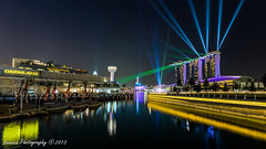 Shine On (t3cnica) Tags: show city blue light urban house architecture marina wonder bay landscapes singapore full hour laser cbd sands lightshow customs ligh promontory the