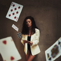 Life Isn't About Holding Good Cards, But Playing A Poor Hand Well (darbyceleste) Tags: portrait girl self diamonds canon square cards mark magic deck ii spades leotard
